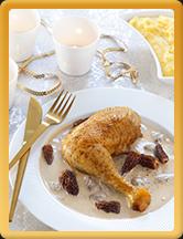 Cuisses de poularde fermière Label Rouge au vin jaune, morilles et polenta
